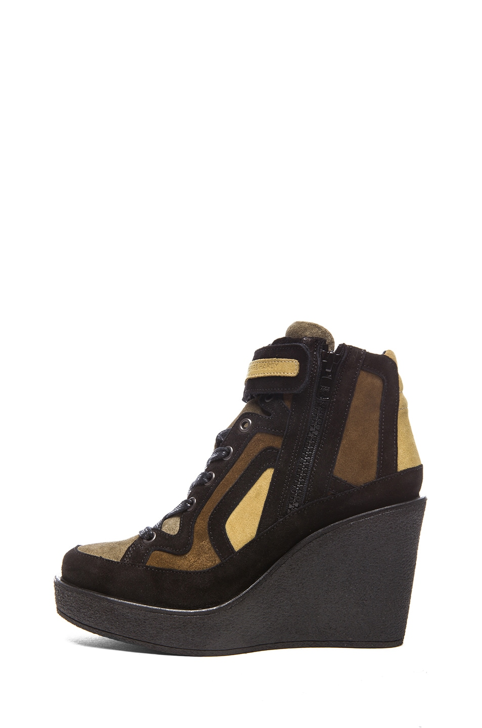 Image 1 of Pierre Hardy Suede Wedge Sneakers in Quadri Camouflage