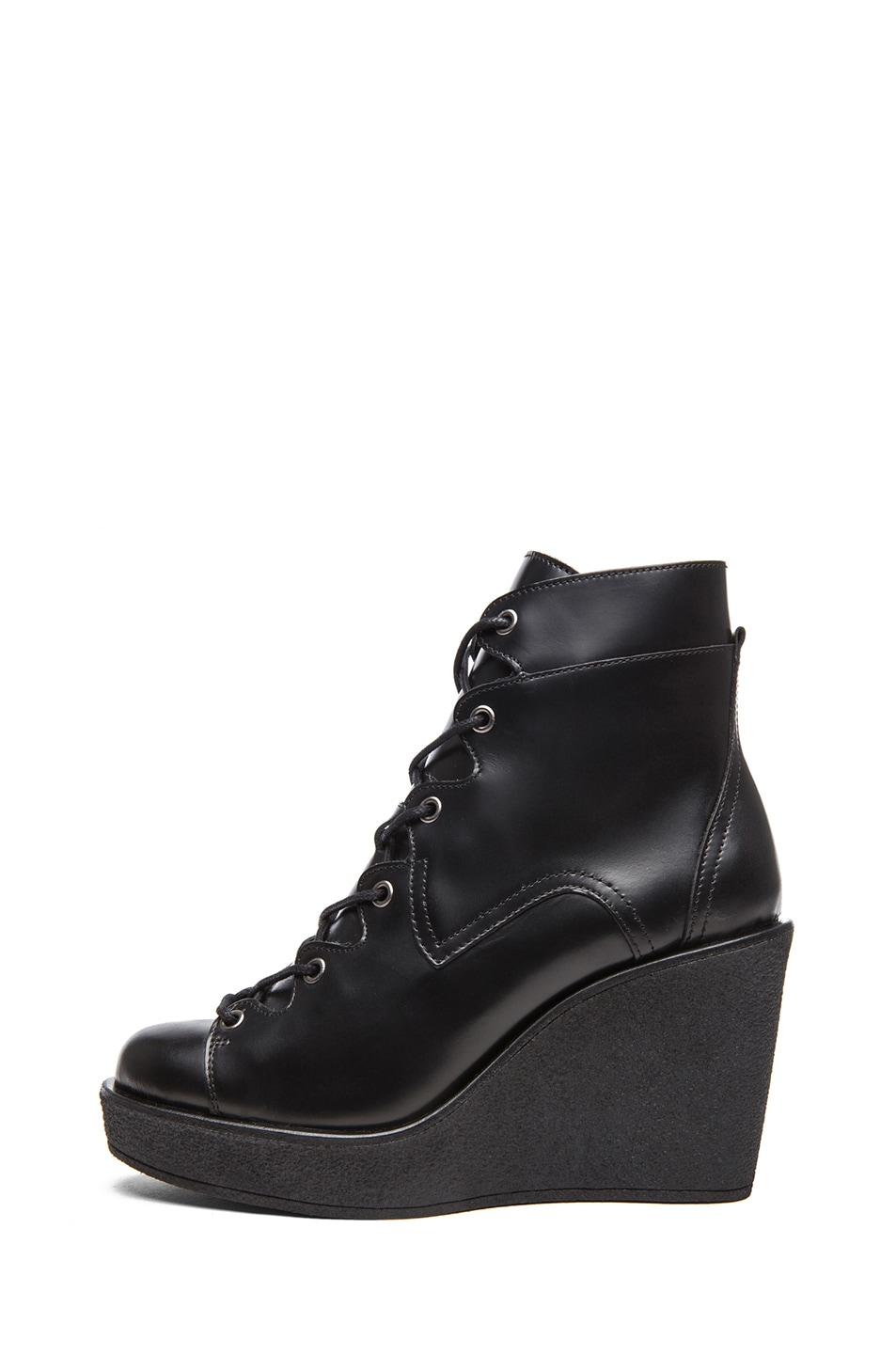 Image 1 of Pierre Hardy Cordovan Matte Calfskin Leather Wedge Booties in Black