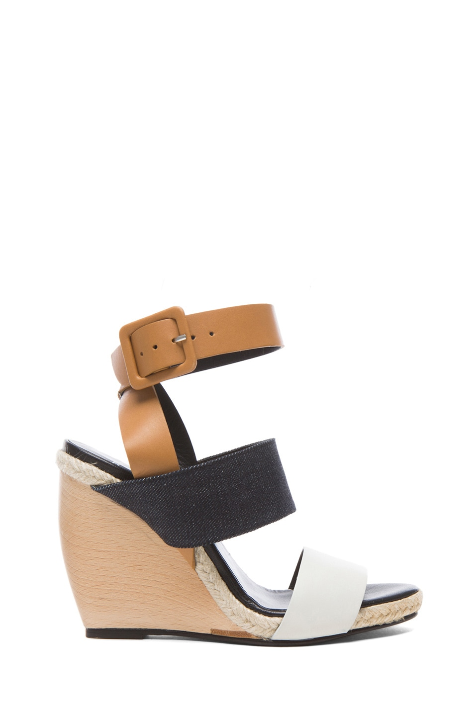 Image 1 of Pierre Hardy Strap Calfskin Leather & Denim Wedge Sandals in Jeans & Brown