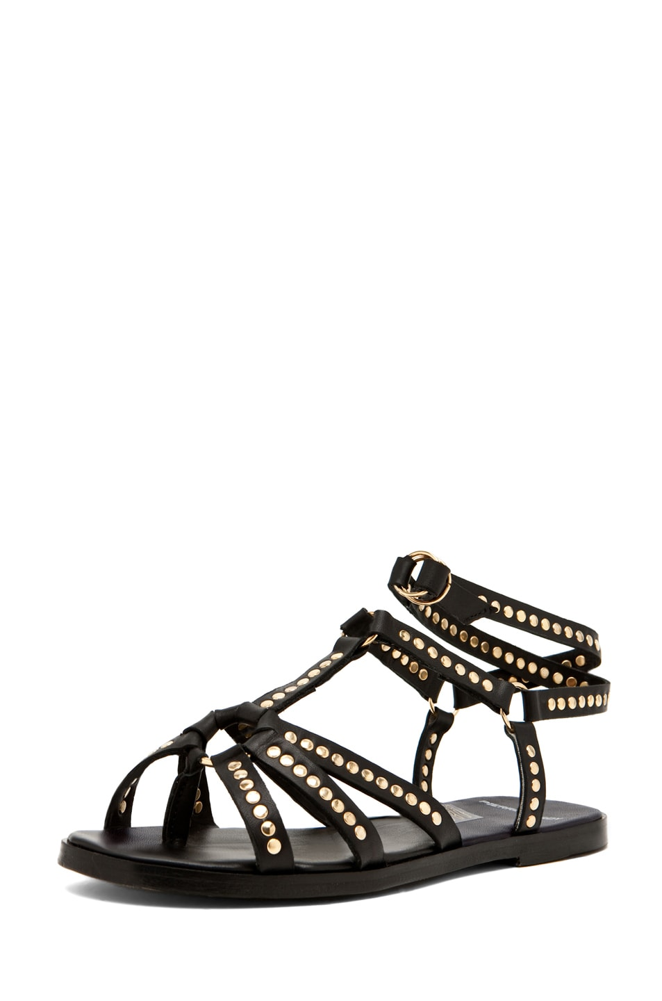 Image 1 of Pierre Hardy Leather Studded Sandal/Gold in Black