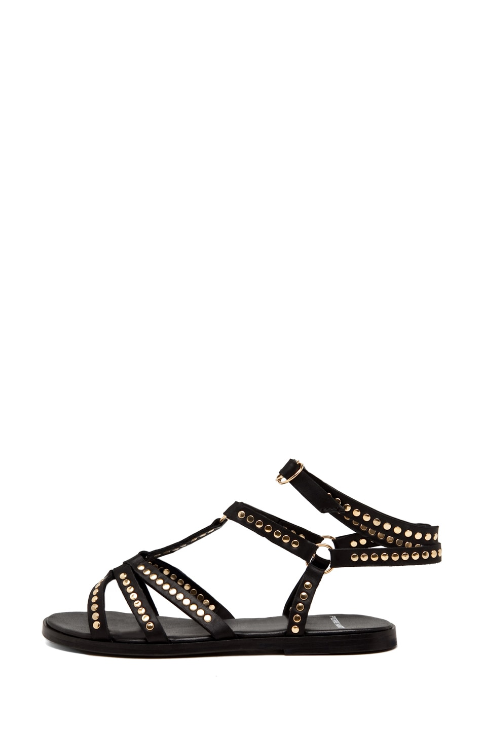 Image 2 of Pierre Hardy Leather Studded Sandal/Gold in Black
