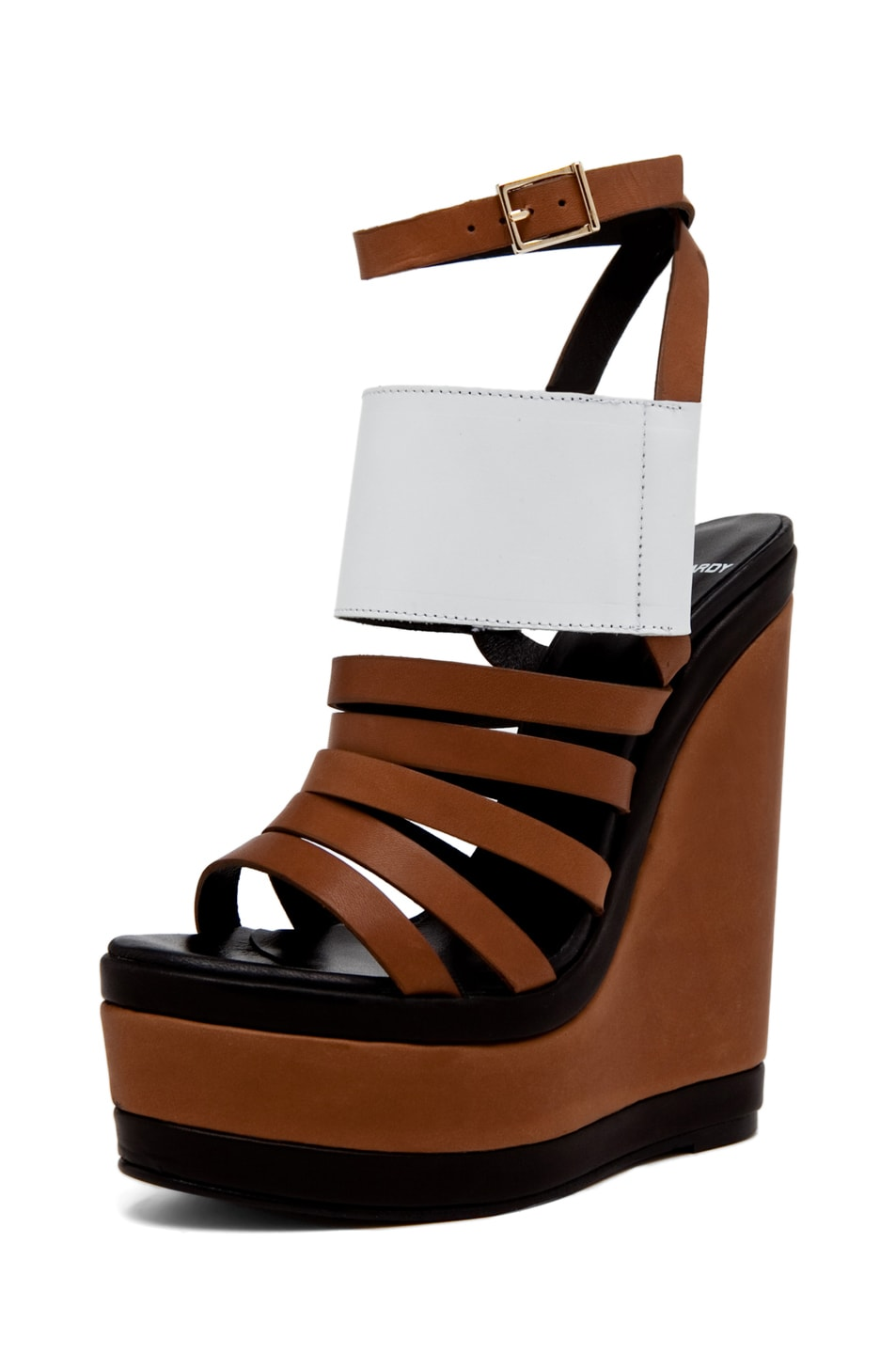 Image 1 of Pierre Hardy Patent and Canvas Wedge in Tan/White