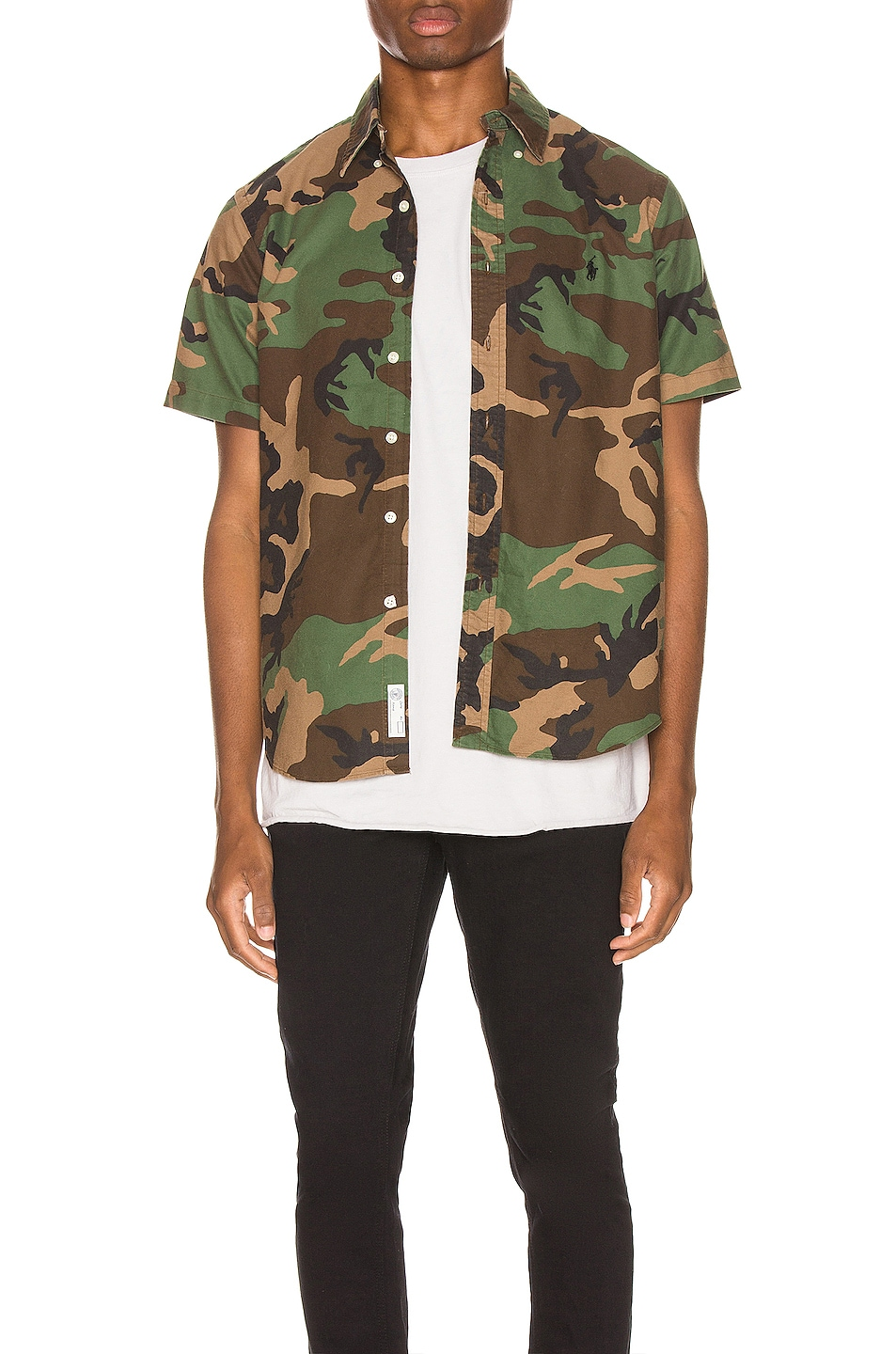 Image 1 of Polo Ralph Lauren Printed Oxford Shirt in Camo Print