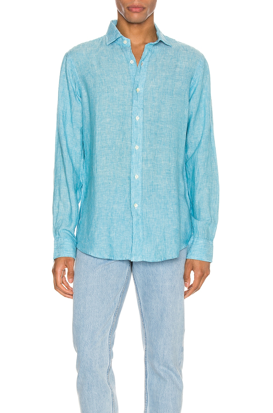 Image 1 of Polo Ralph Lauren Linen Chambray Long Sleeve Button Up Shirt in 4366F Turquoise