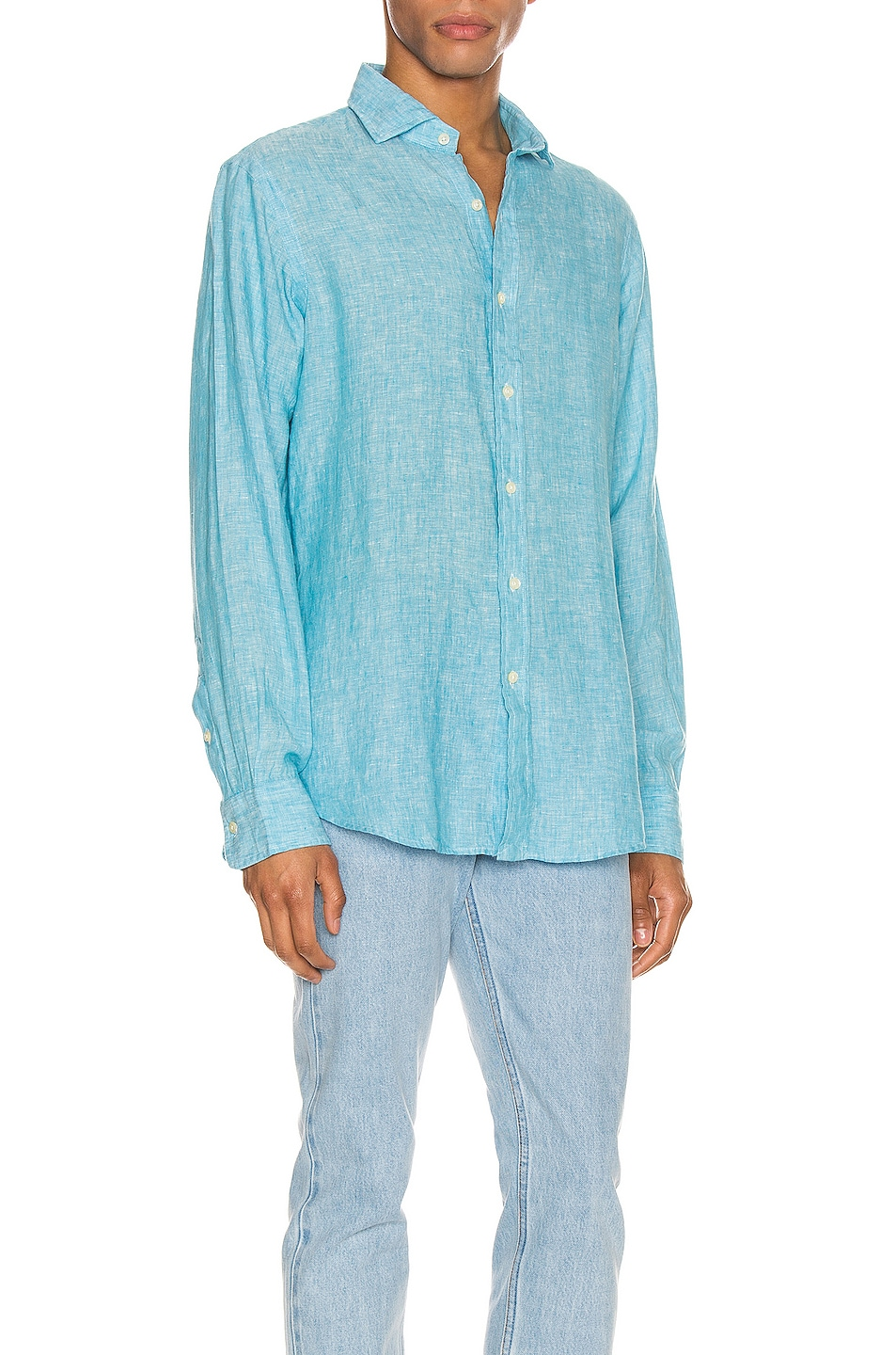 Image 2 of Polo Ralph Lauren Linen Chambray Long Sleeve Button Up Shirt in 4366F Turquoise