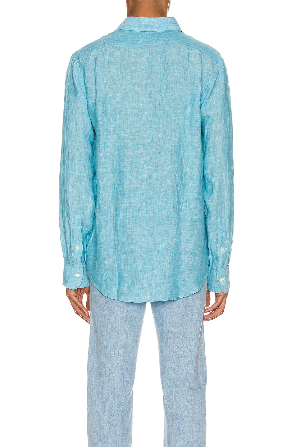 Image 3 of Polo Ralph Lauren Linen Chambray Long Sleeve Button Up Shirt in 4366F Turquoise