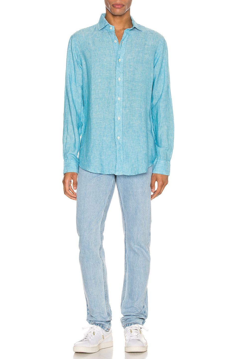 Image 4 of Polo Ralph Lauren Linen Chambray Long Sleeve Button Up Shirt in 4366F Turquoise