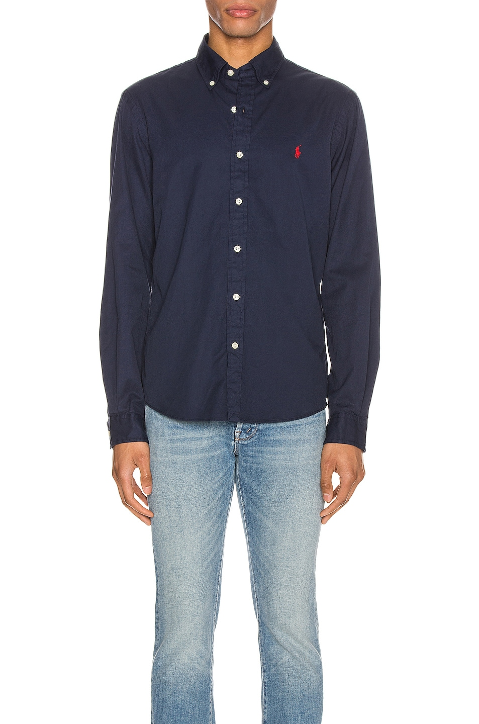 Image 1 of Polo Ralph Lauren GD Chino Long Sleeve Button Up Shirt in Cruise Navy