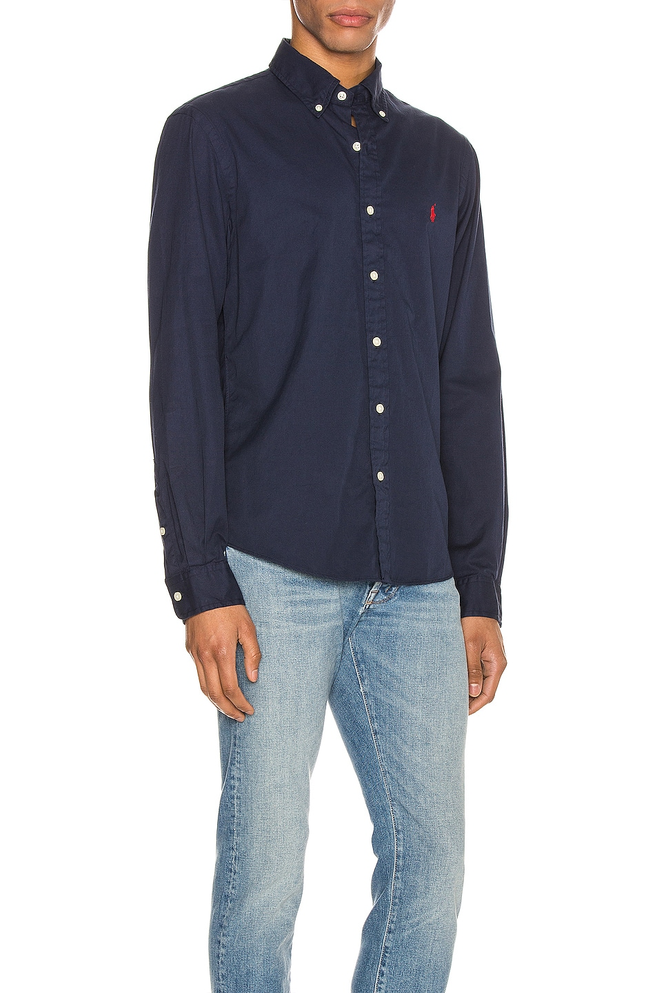 Image 2 of Polo Ralph Lauren GD Chino Long Sleeve Button Up Shirt in Cruise Navy