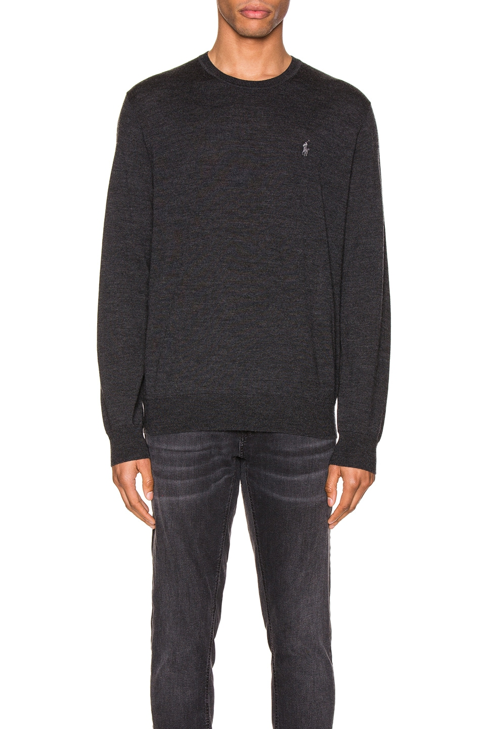 Image 1 of Polo Ralph Lauren Merino Wool Long Sleeve Knit in Dark Granite Heather