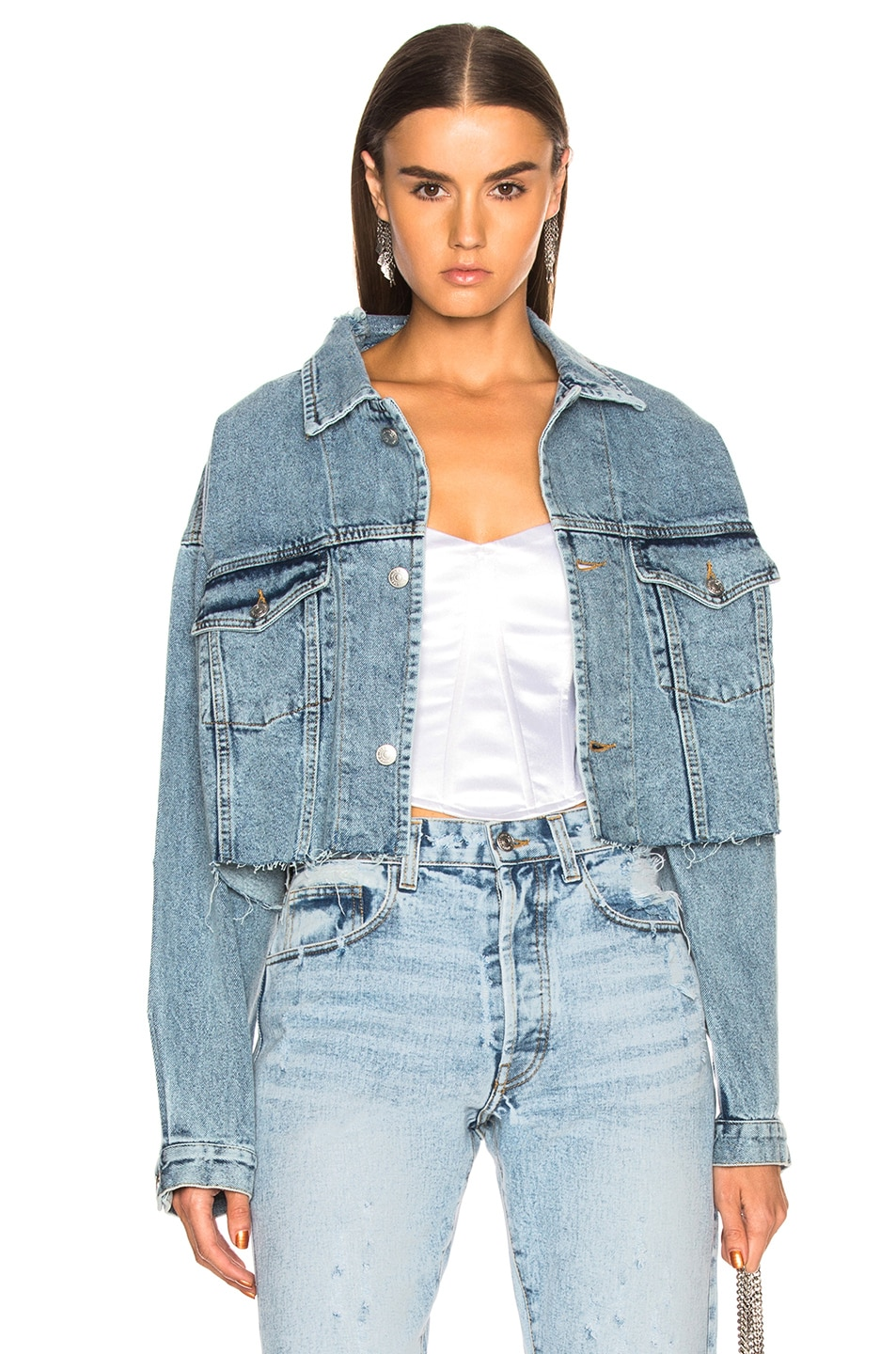 Image 1 of Palmer Girls x Miss Sixty Vintage Cropped Denim Jacket in Light Wash