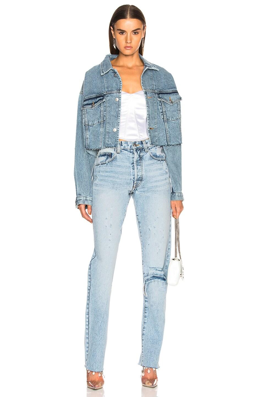 Image 4 of Palmer Girls x Miss Sixty Vintage Cropped Denim Jacket in Light Wash