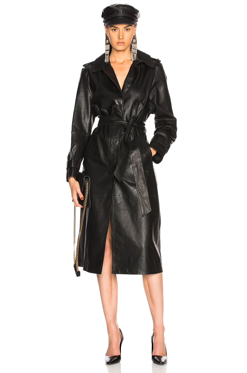 Image 1 of Palmer Girls x Miss Sixty Leather Trench Coat in Black