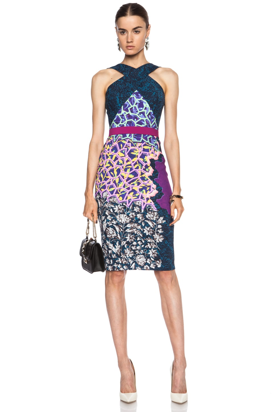 Image 1 Of Peter Pilotto Halter Viscose Blend Midi Dress In Marine