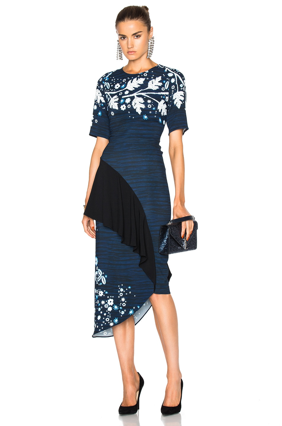 Image 1 Of Peter Pilotto Printed Cady Pencil Dress In Navy Leaf