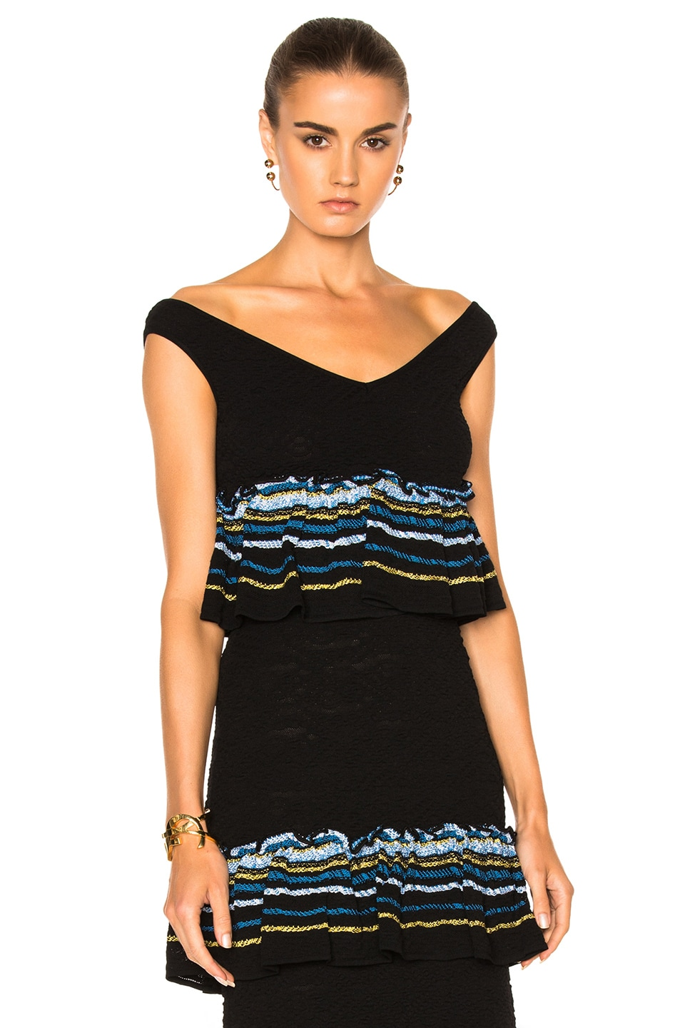 960dedc0324 Image 1 of Peter Pilotto Jacquard Ruffle Knit Crop Top in Navy