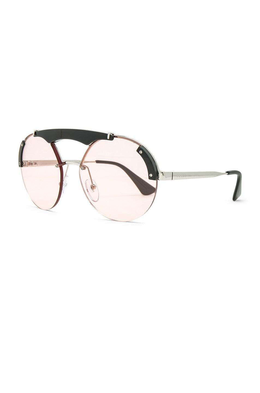Image 2 of Prada Round Ornate Sunglasses in Silver, Black & Light Pink