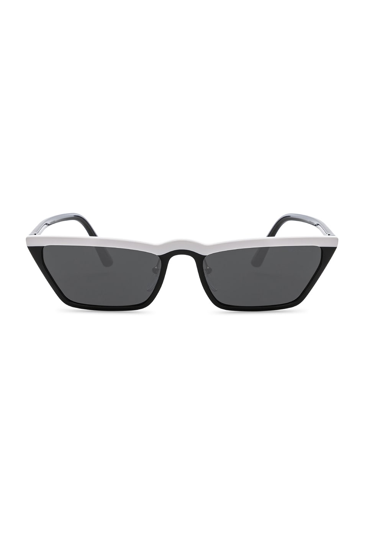 Image 1 of Prada Acetate Low Angle Cut Sunglasses in Black & White