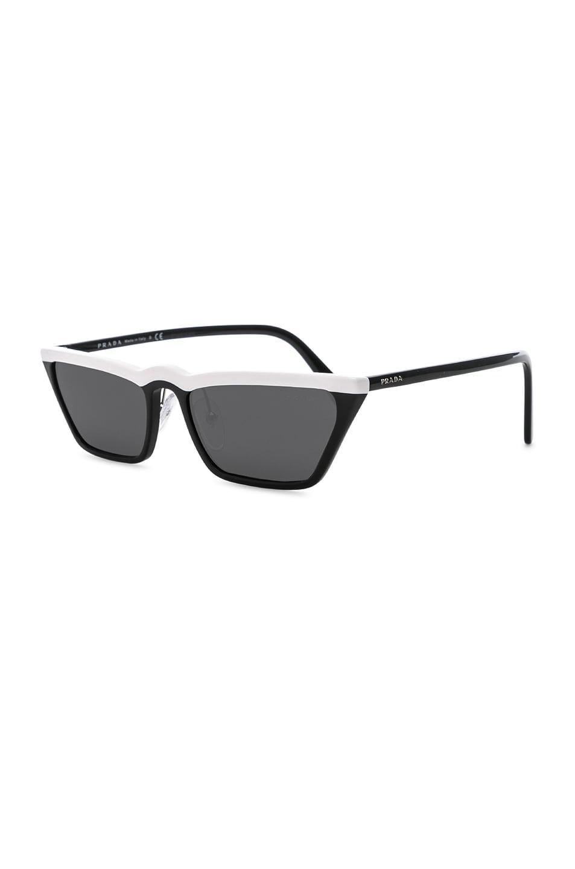 Image 2 of Prada Acetate Low Angle Cut Sunglasses in Black & White