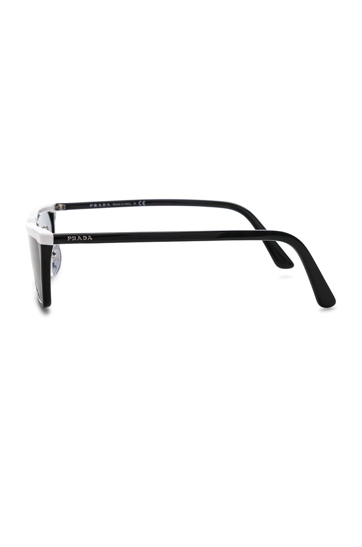 Image 3 of Prada Acetate Low Angle Cut Sunglasses in Black & White