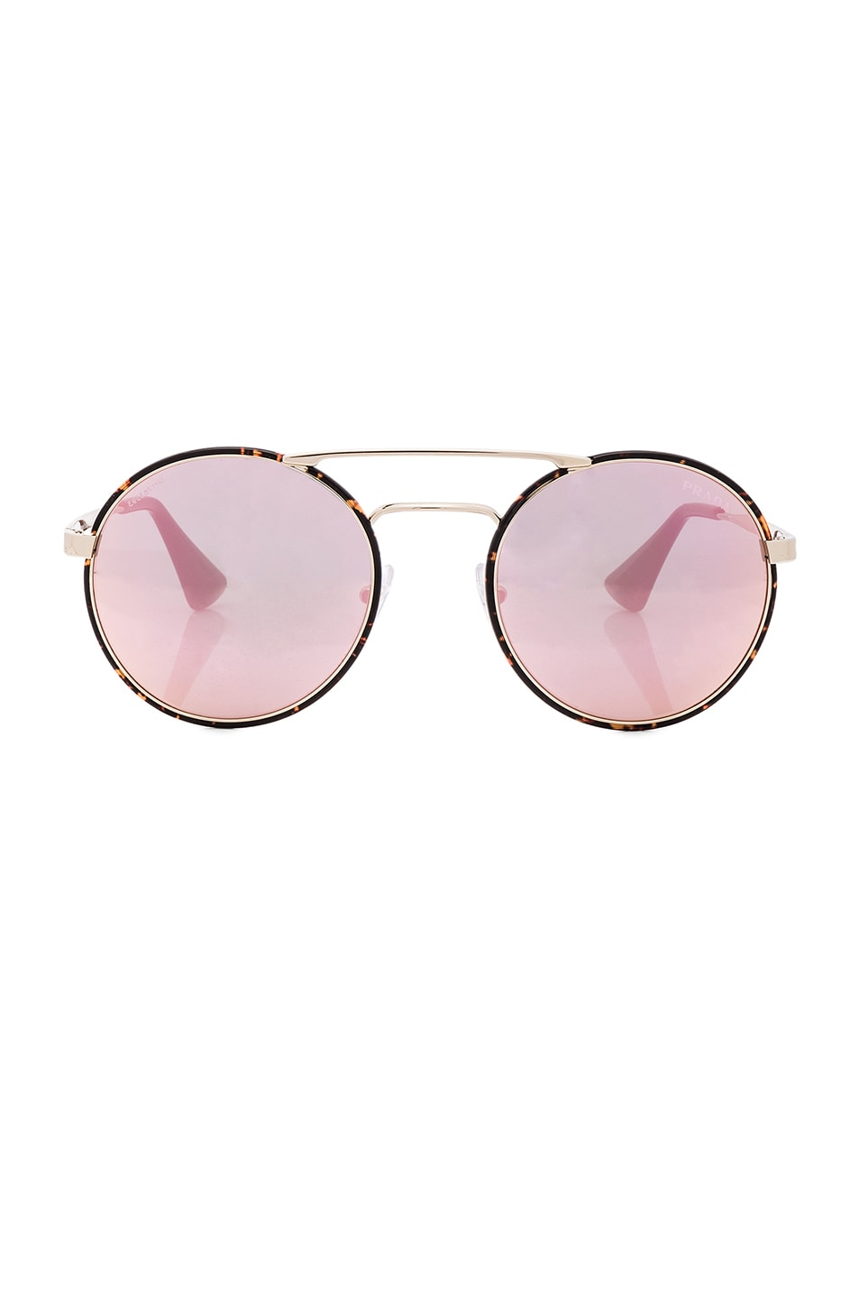 Image 1 of Prada Round Sunglasses in Pale Gold & Dark Havana