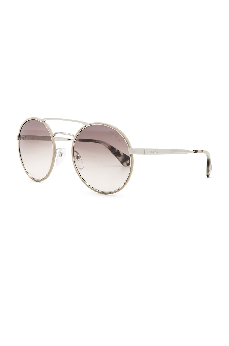 Image 2 of Prada Round Sunglasses in Silver & Light Brown