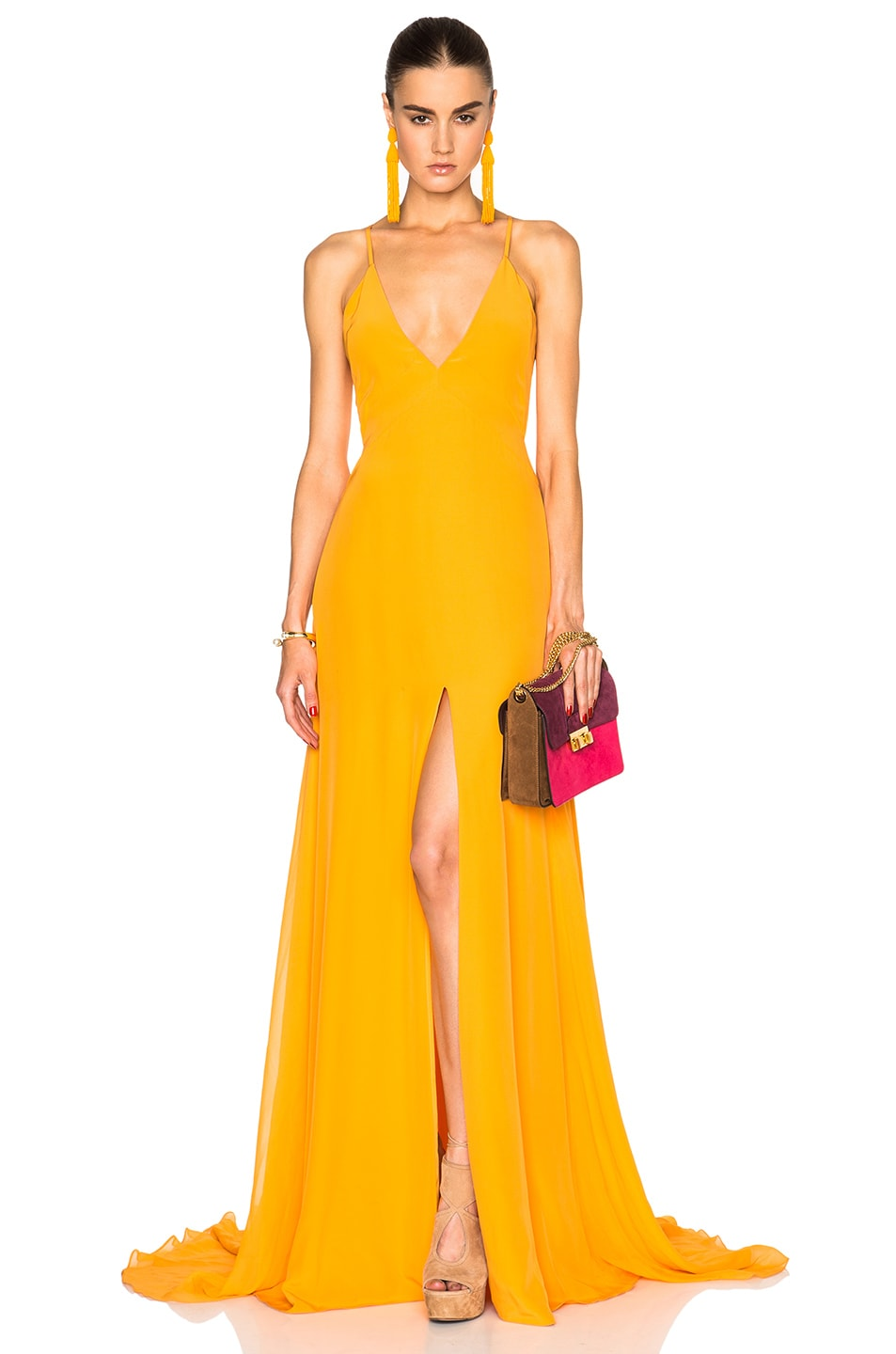 Prabal Gurung Charmeuse Gown in Saffron | FWRD