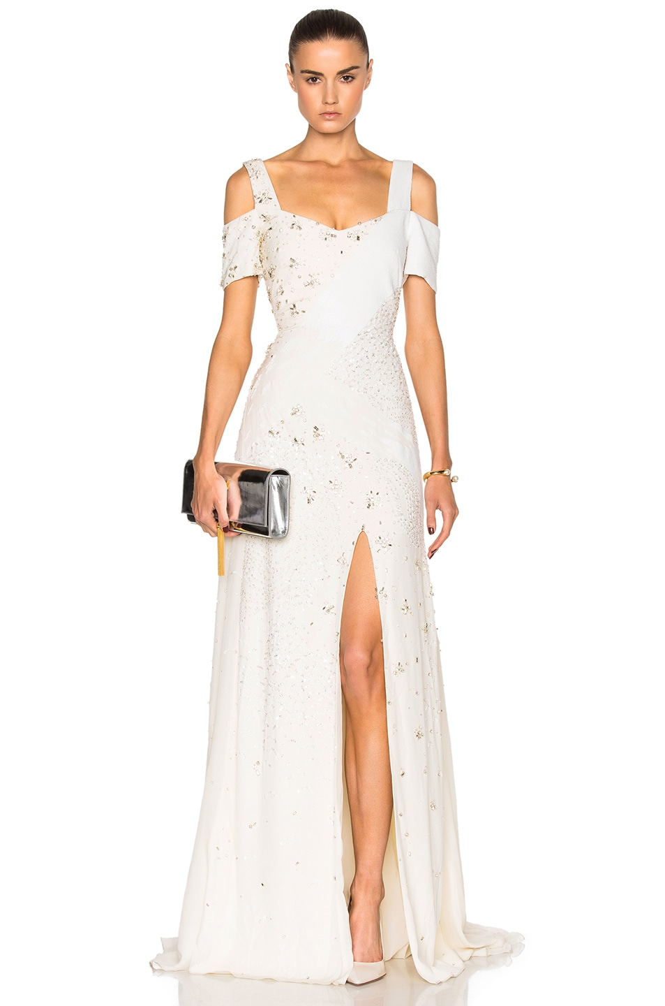 Image 1 of Prabal Gurung Embroidered Cold Shoulder Gown in Snow
