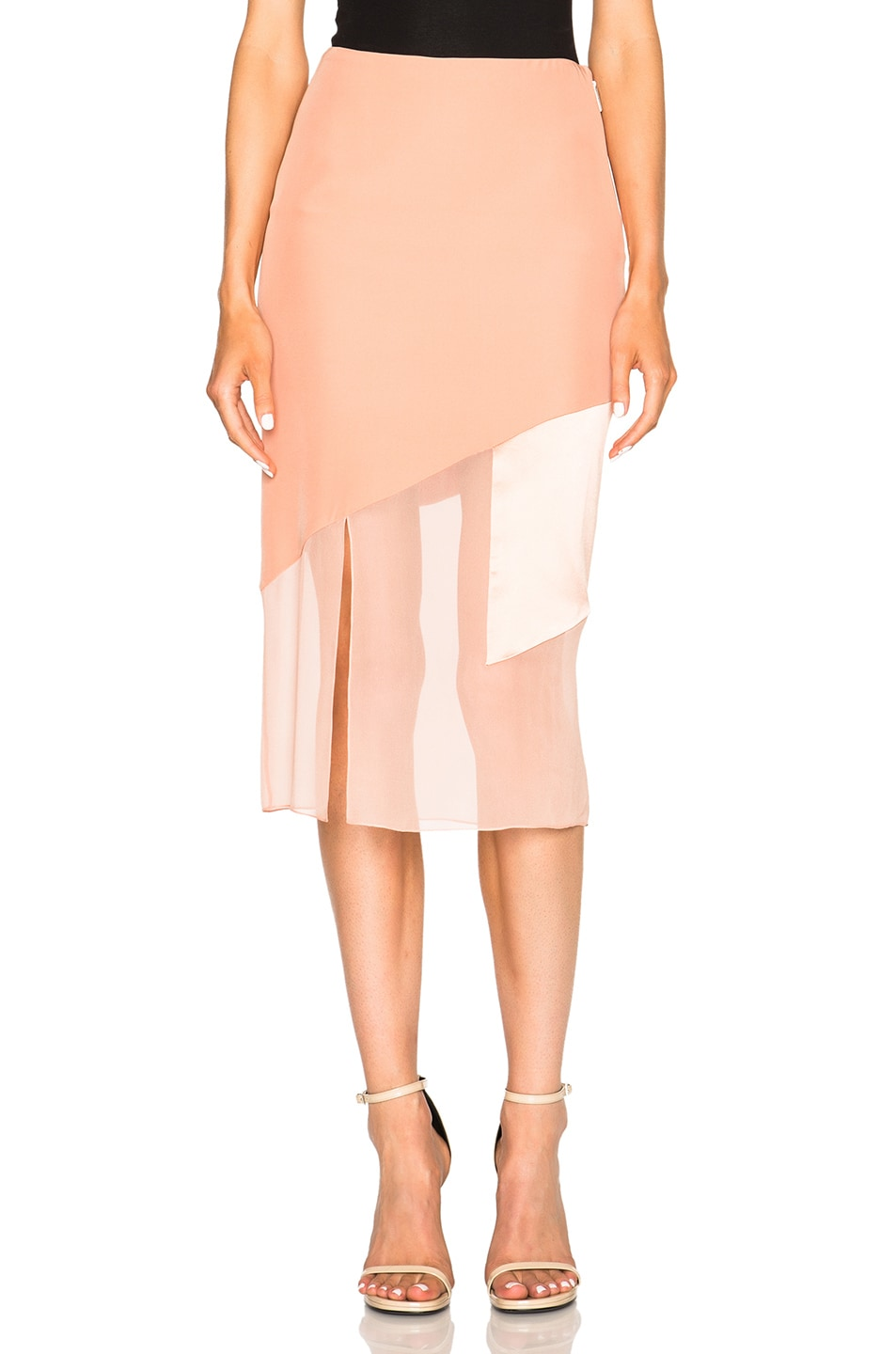 Image 1 of Prabal Gurung Charmeuse Skirt in Tea Rose