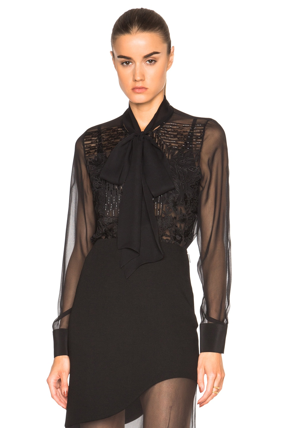 Image 1 of Prabal Gurung Embroidered Bow Blouse in Black