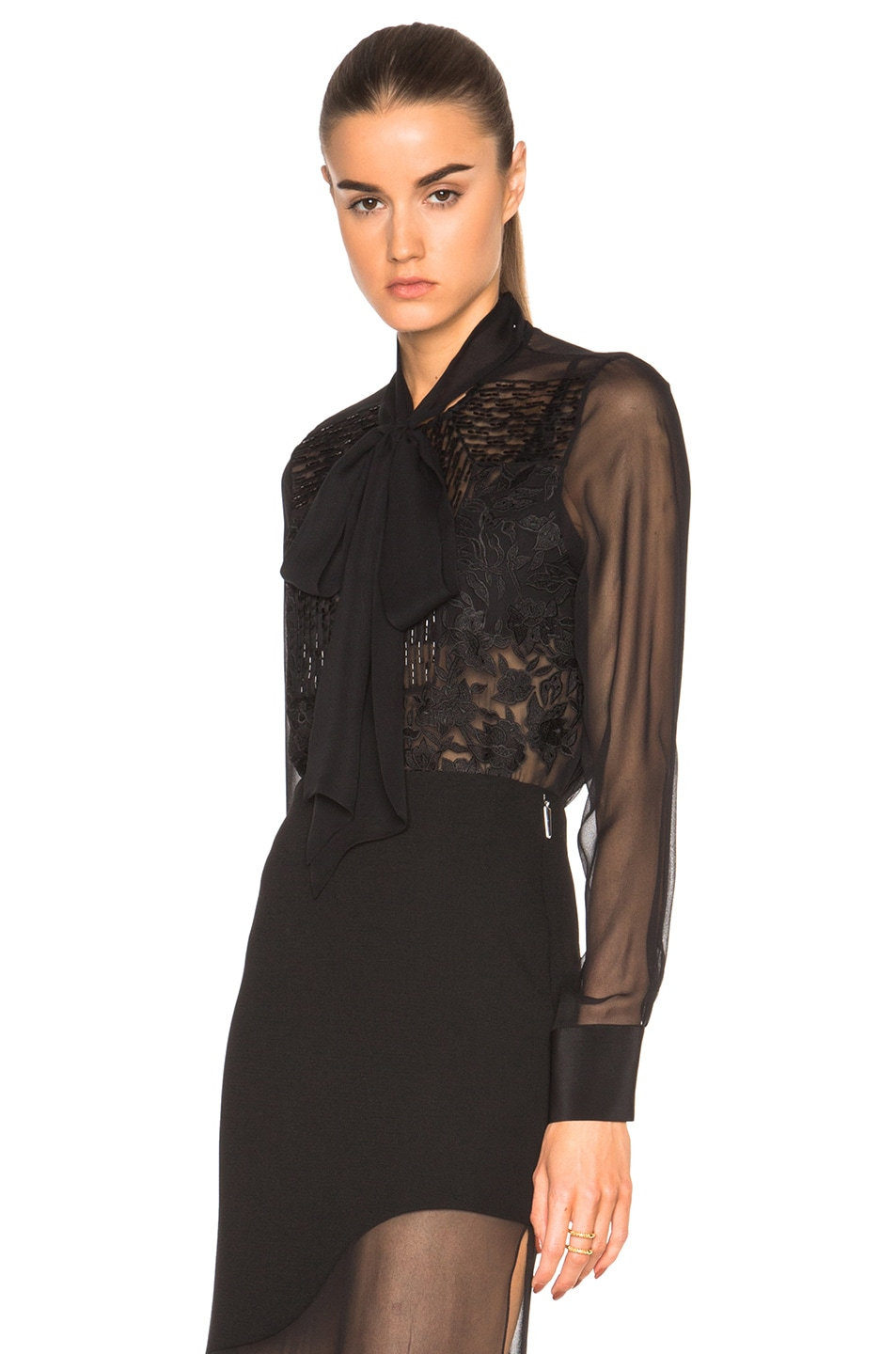 Image 2 of Prabal Gurung Embroidered Bow Blouse in Black