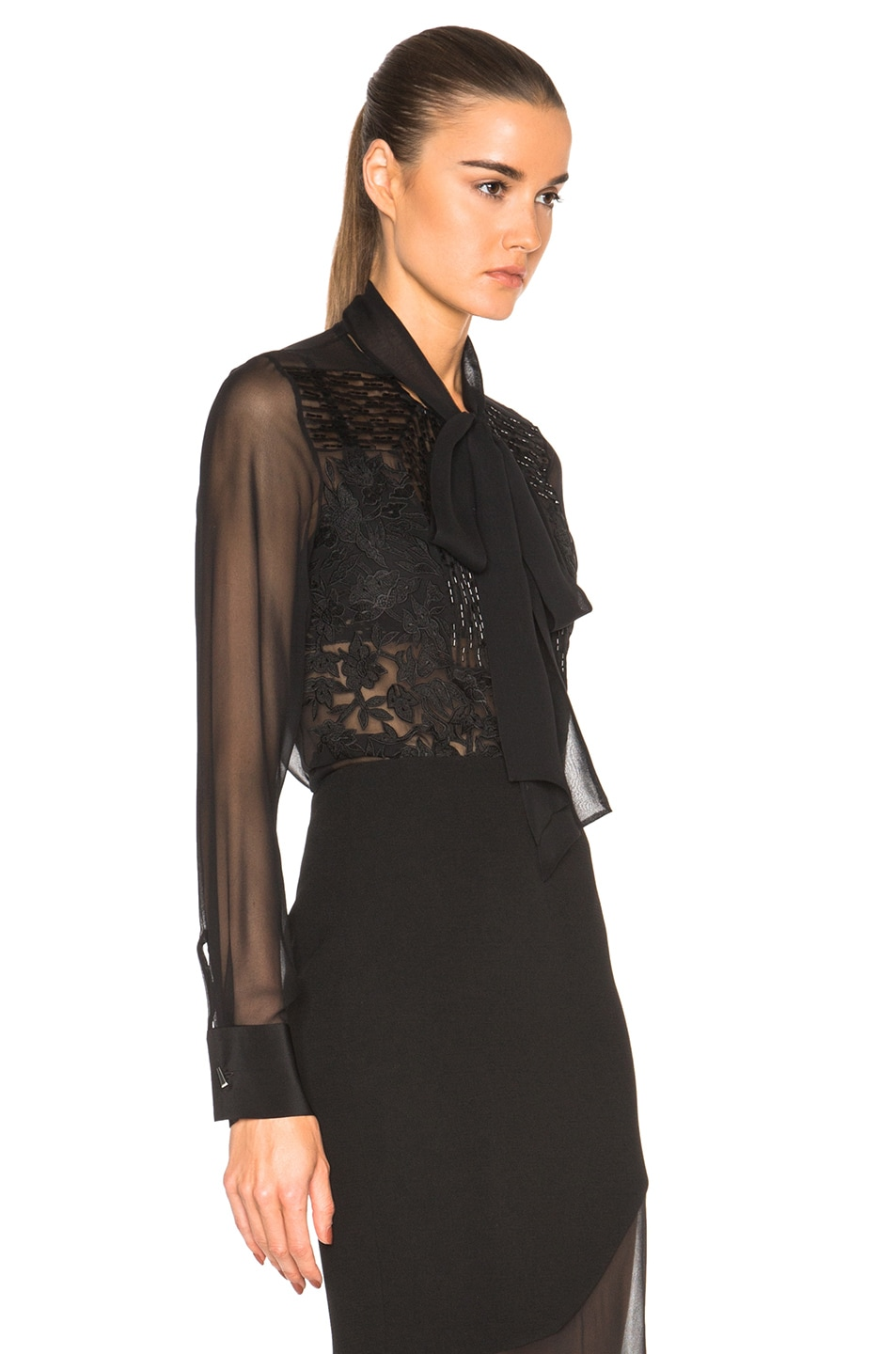 Image 3 of Prabal Gurung Embroidered Bow Blouse in Black