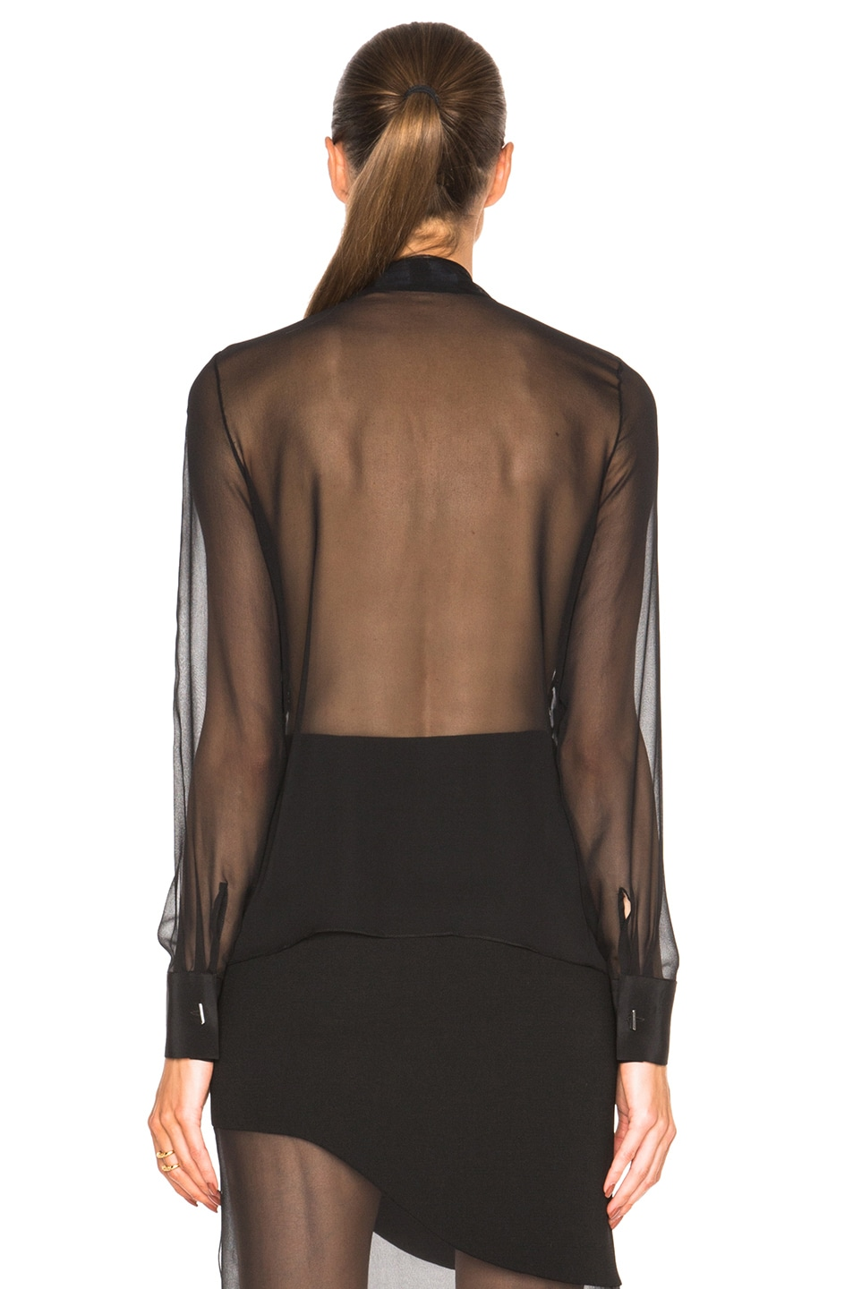 Image 4 of Prabal Gurung Embroidered Bow Blouse in Black