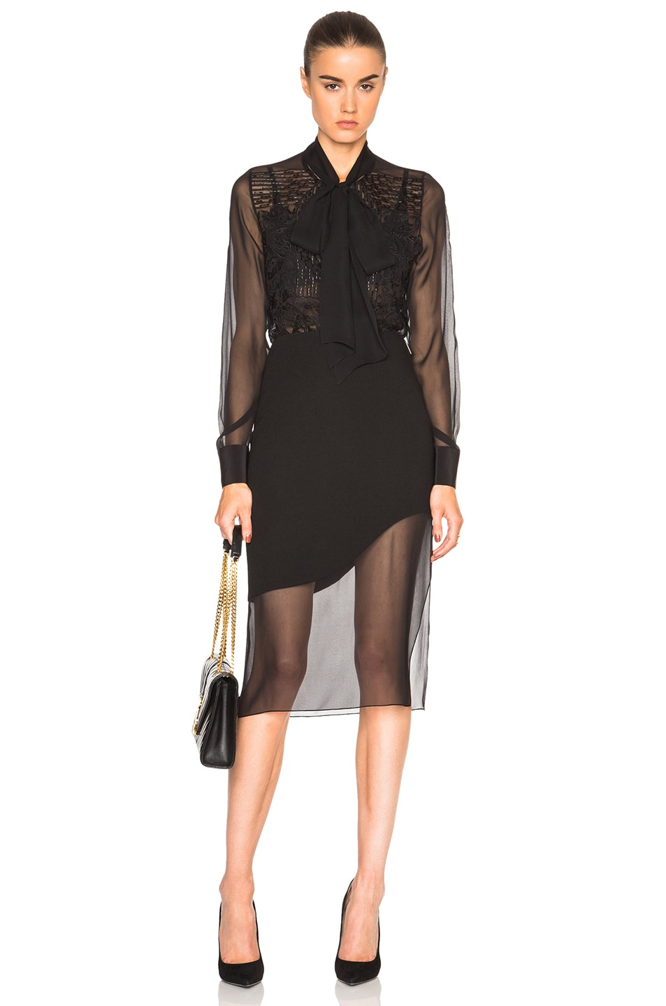 Image 5 of Prabal Gurung Embroidered Bow Blouse in Black