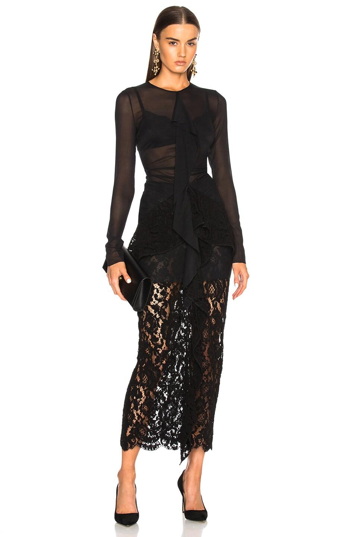 Proenza Schouler Corded Lace Long Sleeve Maxi Dress in Black