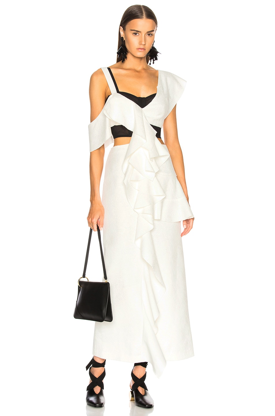 Proenza Schouler One Shoulder Long Ruffle Dress in Black,White