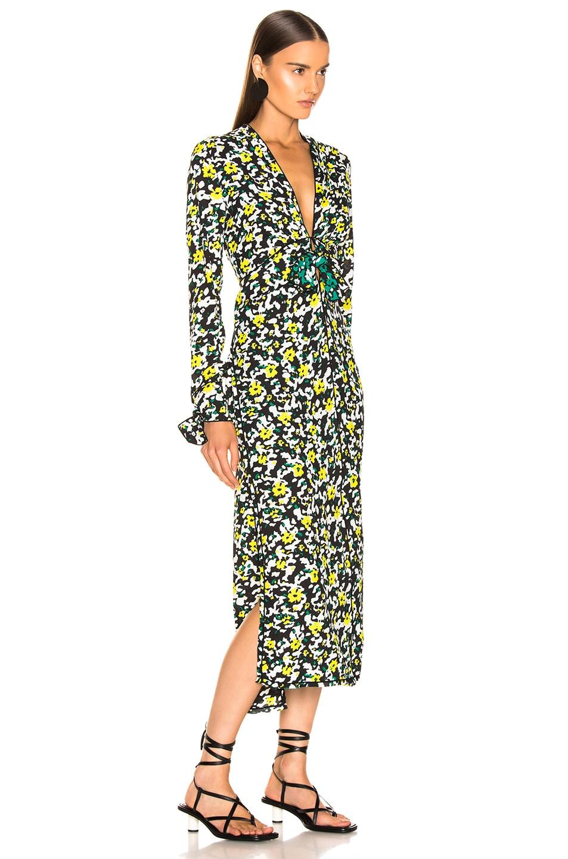 Image 2 of Proenza Schouler Long Sleeve Printed Dress in White Wildflower
