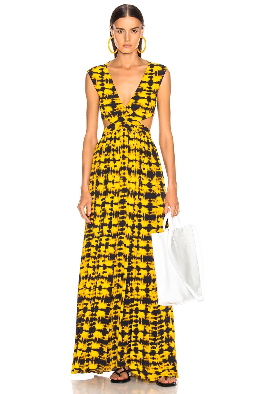 Image 1 of Proenza Schouler Tie Dye Maxi Dress in Yellow & Black