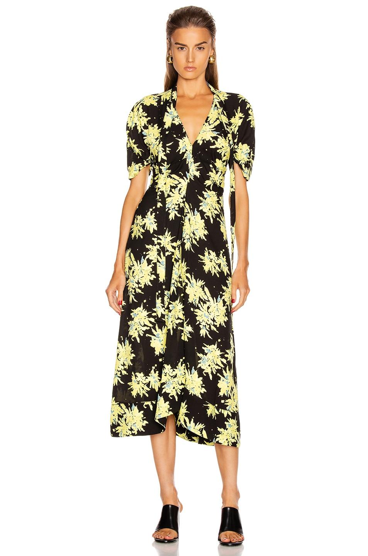 Image 1 of Proenza Schouler Splatter Floral Tie Dress in Yellow & Black
