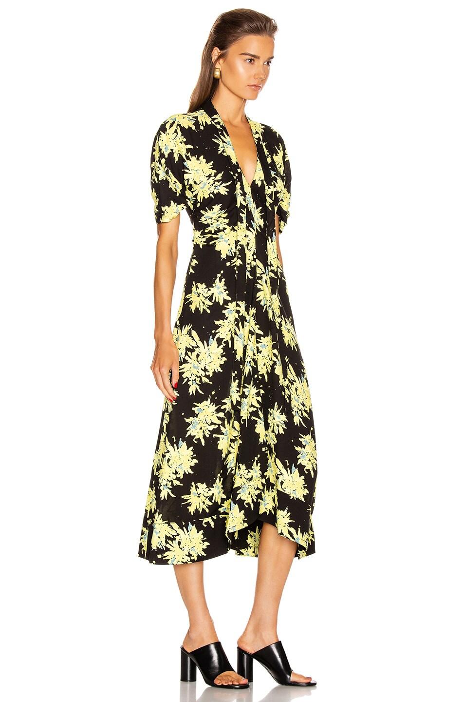 Image 2 of Proenza Schouler Splatter Floral Tie Dress in Yellow & Black