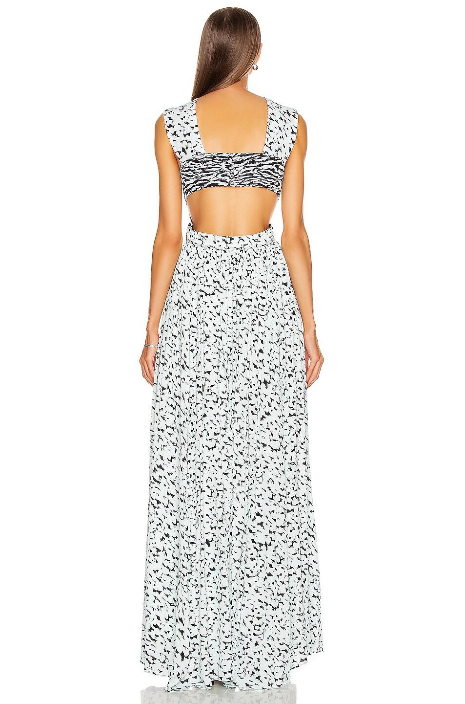 Image 3 of Proenza Schouler Printed Maxi Dress in Black & Sky Blue Leopard