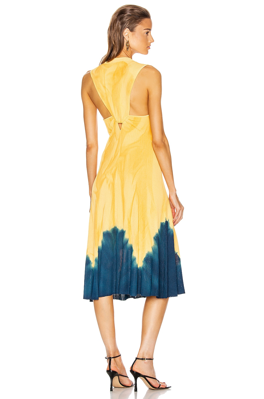 Image 1 of Proenza Schouler Tie Dye Sleeveless Knotted Back Dress in Orange & Blue