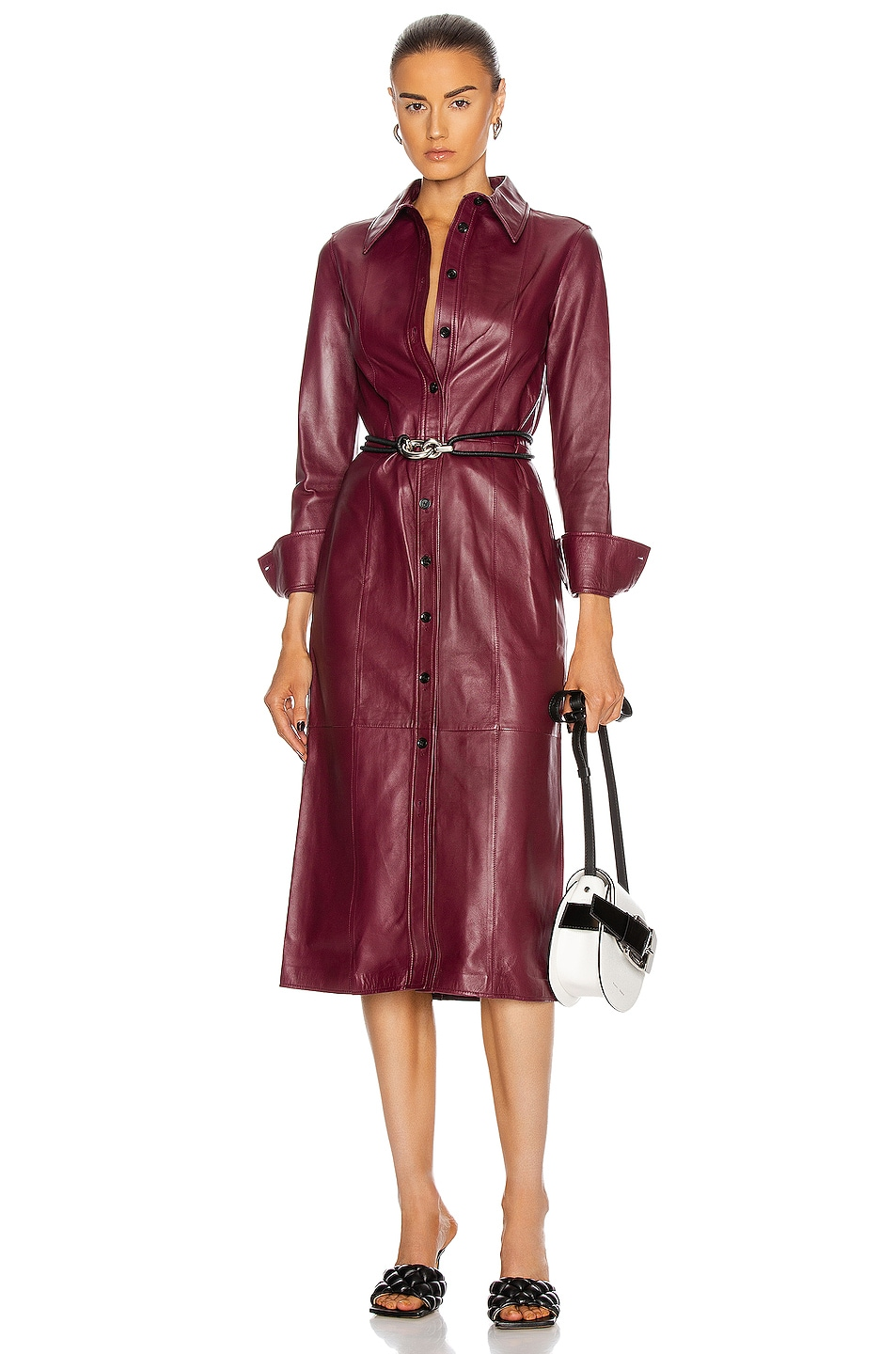 Image 1 of Proenza Schouler Leather Shirt Dress in Bordeaux
