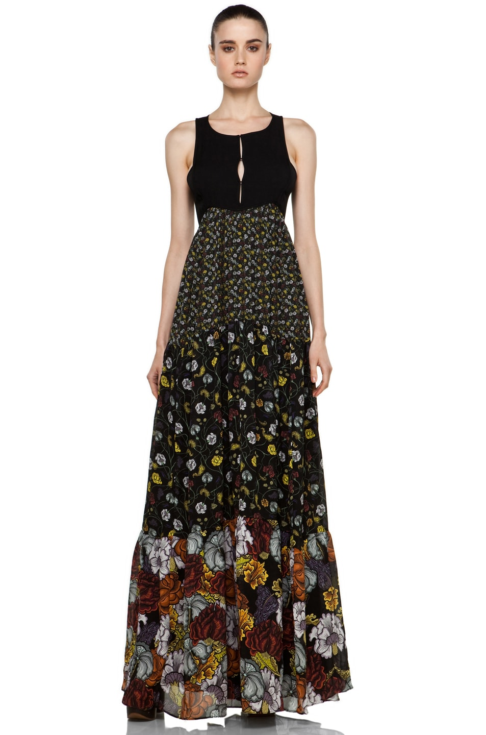 Image 1 of Proenza Schouler Tiered Long Dress in Black Floral