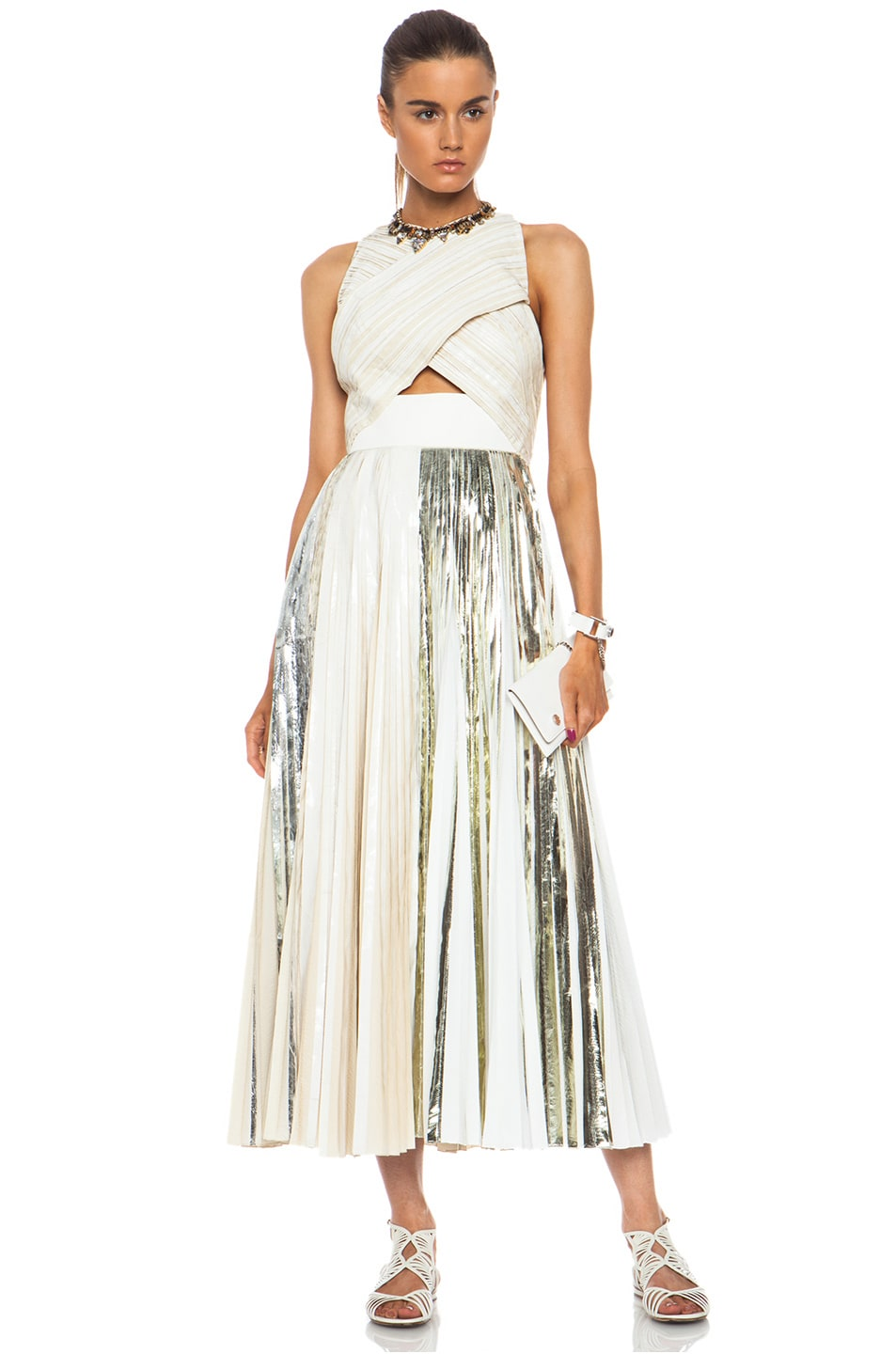 Image 1 Of Proenza Schouler Foil Print Poly Pleated Dress In White Silver
