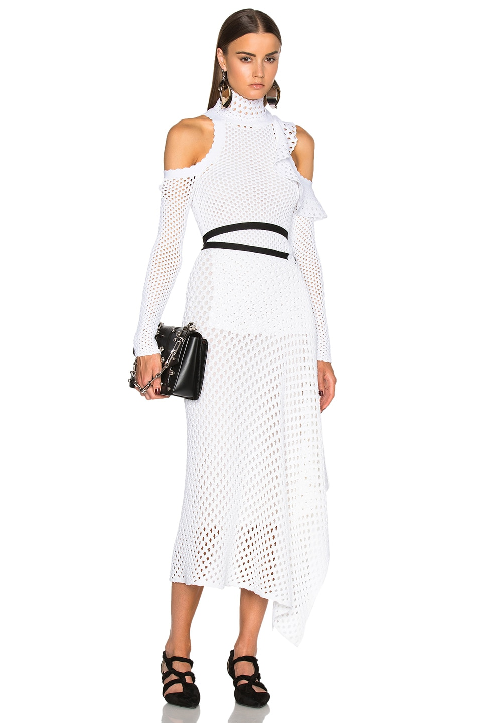 Image 1 Of Proenza Schouler Mesh Knit Off Shoulder Dress In White