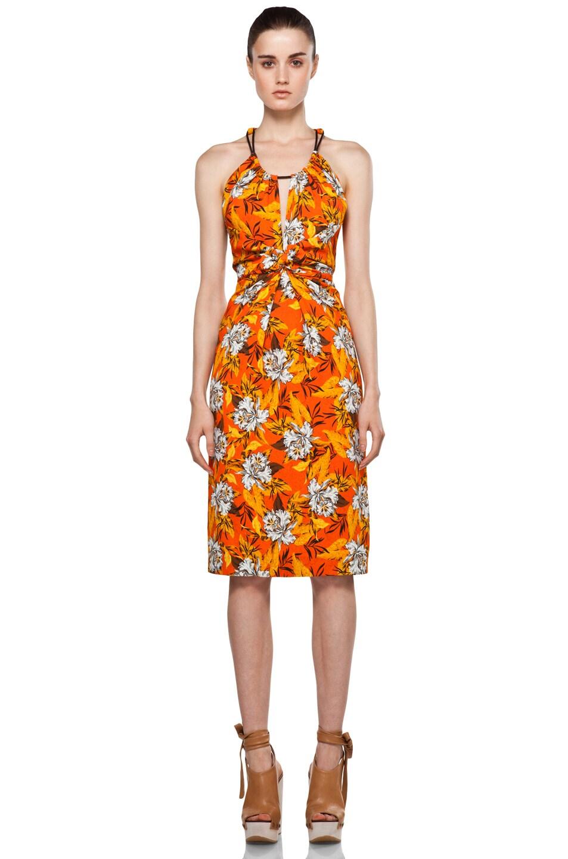 Image 1 of Proenza Schouler Sleeveless Front Tie Dress in Orange Hibiscus