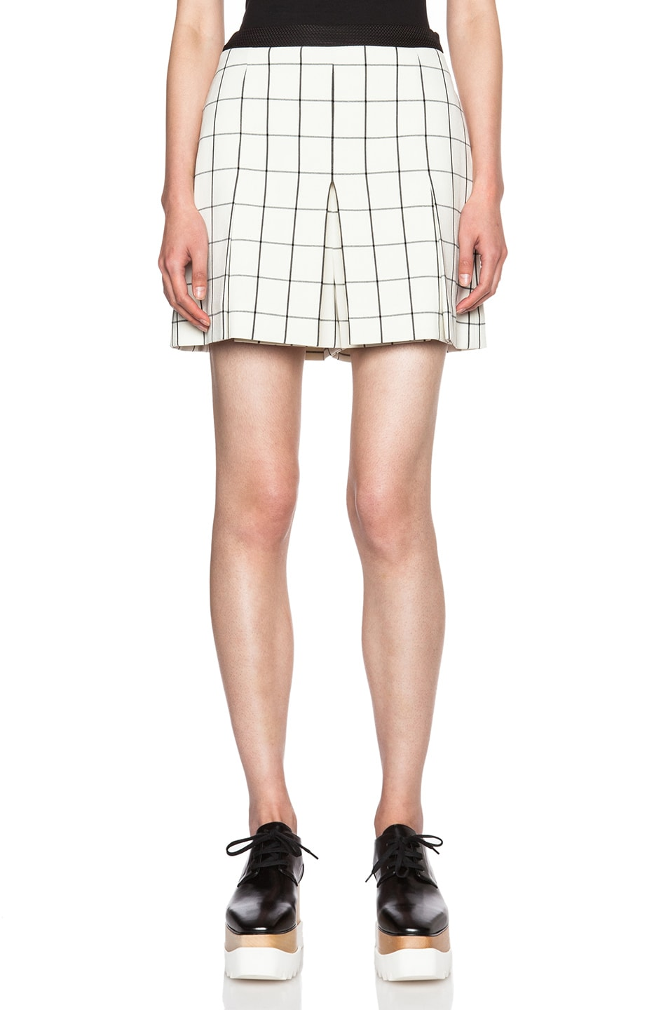 Image 1 of Proenza Schouler Pleated Viscose Suiting Shorts in Black Windowpane & Off White