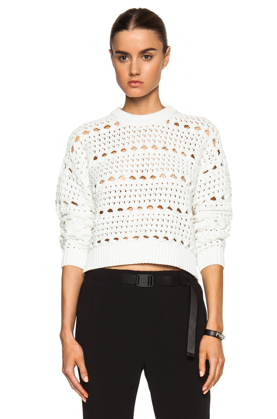 Image 1 of Proenza Schouler Open Cable Cropped Crewneck in Off White