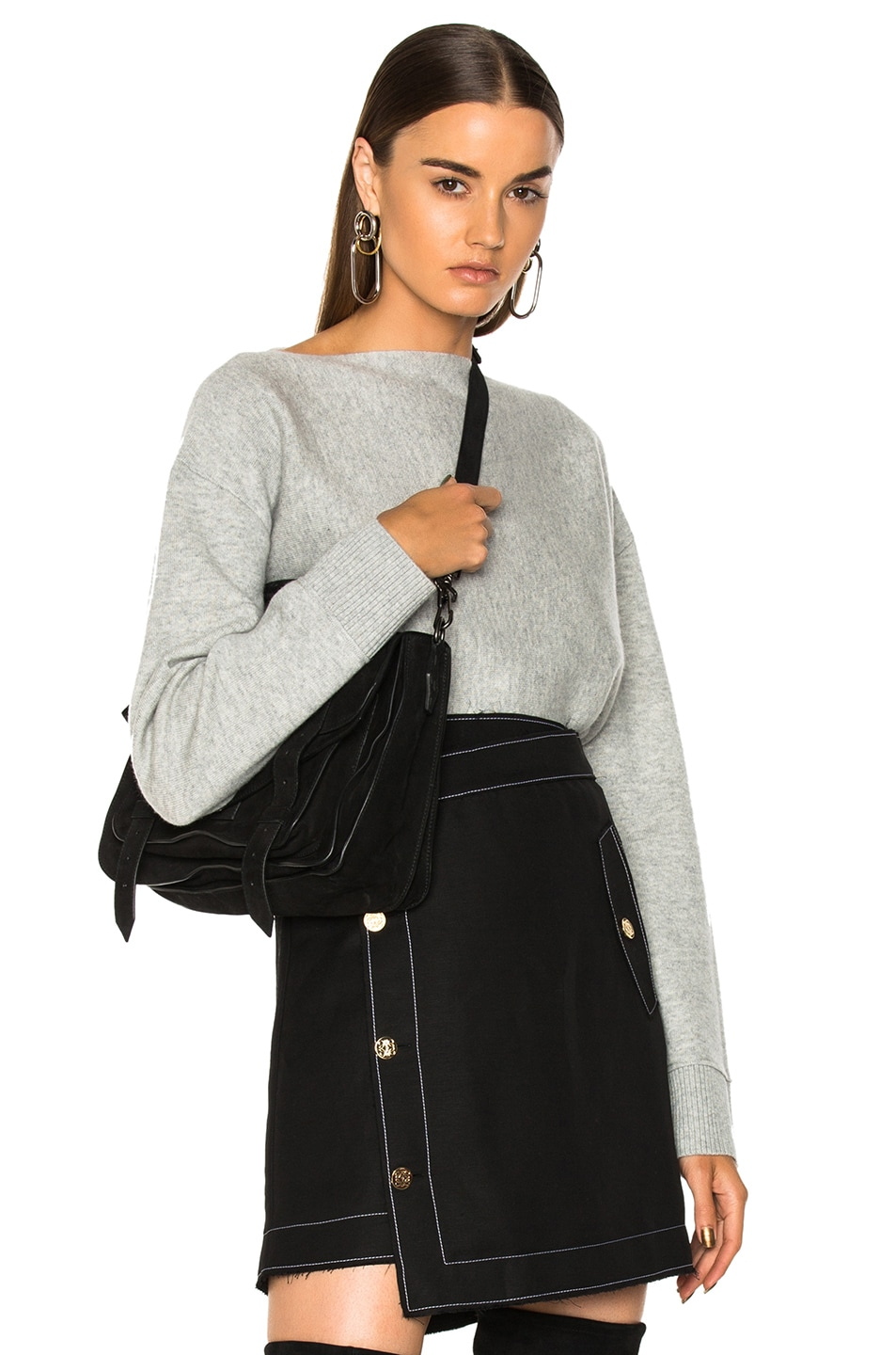 Image 1 of Proenza Schouler Double Face Cashmere Boatneck Sweater in Grey Melange & Off White